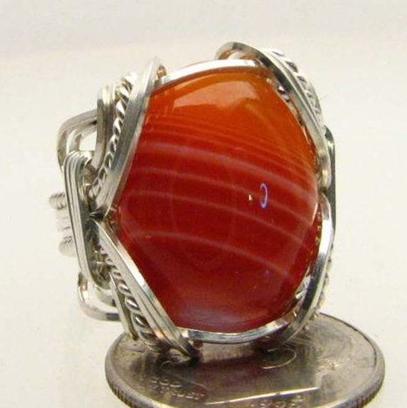 Handmade Wire Wrapped Red Sardonyx Sterling Silver Ring.  Custom Personalized Sizing to fit you.