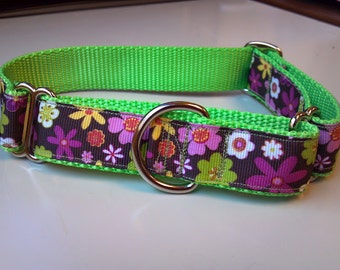 "Rosalie's Flower Power 1"" Martingale Collar"