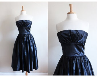 Vintage 1980s does 1950s Black Satin Strapless Party Dress