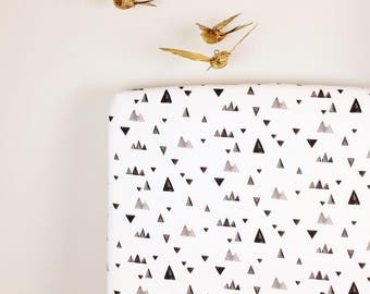 Crib Sheet & More MADE TO ORDER Black White Triangles / Organic,Minky,orCotton:Fitted Crib Sheet/Changing Pad Cover/Minky Blanket/Crib Skirt