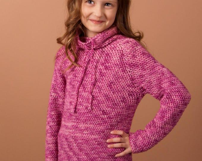 crochet sweater pattern, crochet pullover, top down pullover, girls pullover, girls sweater pattern, Pullover for girls, crochet pattern