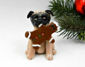 Pug Porcelain Christmas Ornament Figurine Gingerbreadman