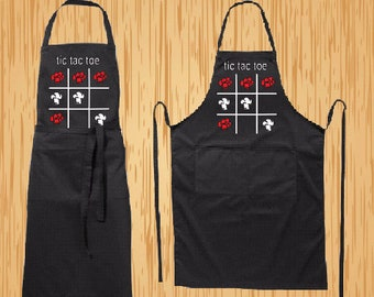 Full modern black apron tic tac toe, for her, for him, Long modern apron, two pockets, BBQ, for gift, Birthday, cooking, kitchen apron