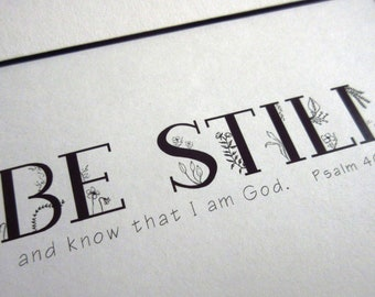 Be Still and Know Psalm 46:10 WORD Art Wall Art Christian Home Decor Bible Verse Quiet Time Sign Scripture Sign