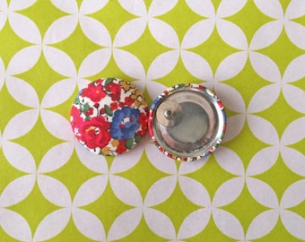 Fabric Button Earrings / Wholesale Jewelry / Stud Earrings / Red and Blue / Vintage Inspired / Bulk Earrings / Handmade Gifts / Bulk