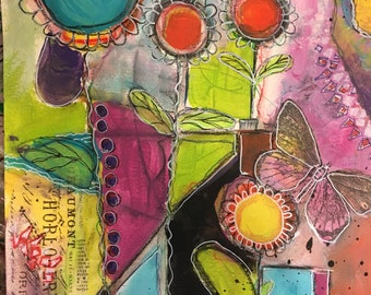 Garden Blooms Abstract Mixed Media on Watercolor Paper