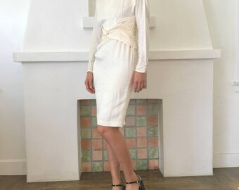 Vintage 90s Draped Disco Inspired Silk Long Sleeve Dress