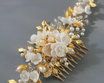 Gold comb Wedding Hair comb Bridal hair comb Flower Wedding hair comb Gold headpiece Bridal hair accessories Gold Wedding hair accessories