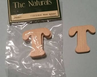 Wood Alphabet Letter 'T', 1-1/2 inches, Package of 2
