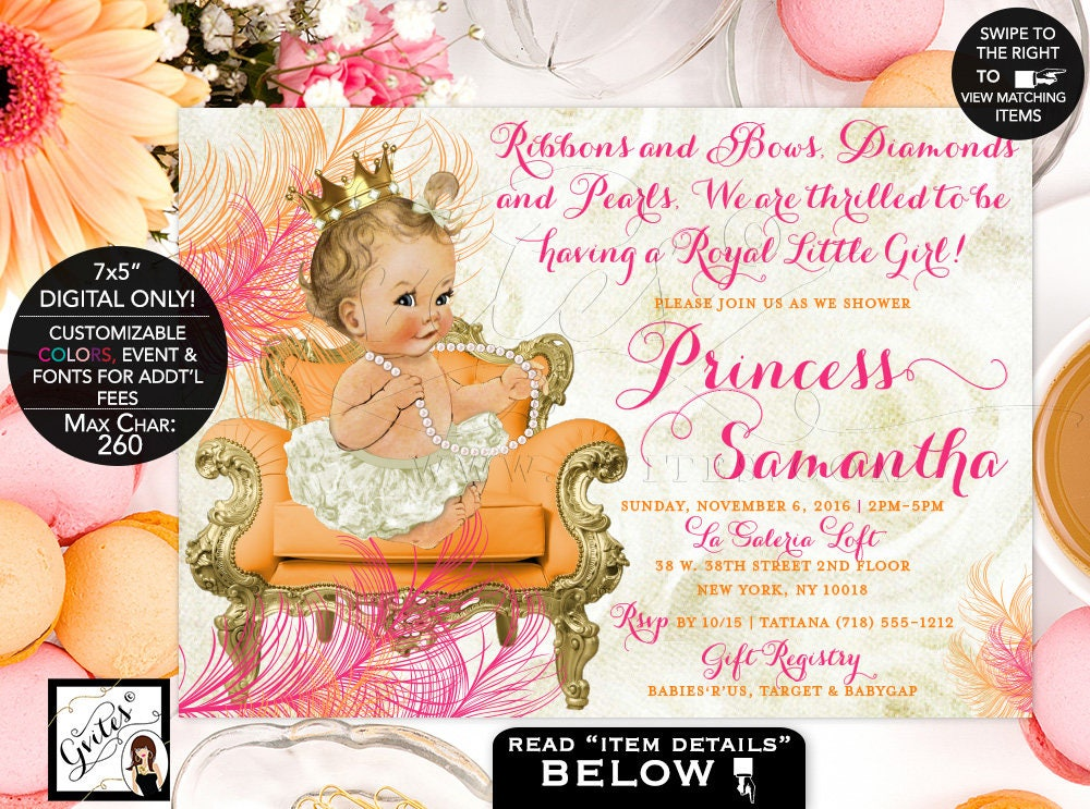 Orange and Pink Baby Shower Invitation, Gold Printable Princess Girl ...