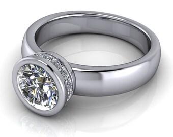 Diamond Bezel Solitaire Moissanite Engagement Ring