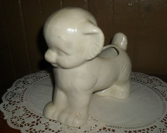 Vintage - Pottery White Dog / Puppy wtih Bow Planter - 1950s