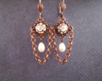 Vintage Rhinestone Earrings, White Glass Pearl Earrings, Copper Chain Dangle Earrings, FREE Shipping U.S.