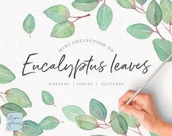 Eucalyptus Watercolor leaves: A green leafy watercolour collection perfect for wedding invitations, stationery design and more