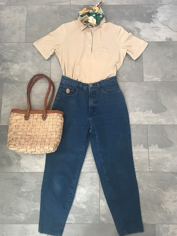 Vintage high waisted jeans | vintage mom jeans | Trussardi pants | sixties jeans | carrot fit jeans