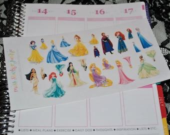 Princess Stickers for Erin Condren Life Planner Plum Paper Planner Disney Stickers Disney Princesses