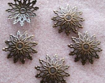 Antique Copper Starburst Filigree Bead Caps 18mm Nickel Free 501
