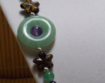 Aventurine, Amethyst, Quartz Necklace