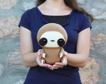 PATTERN: Cuddle-Sized Sloth Amigurumi, Crocheted Sloth Pattern, Sloth Toy Tutorial, PDF Crochet Pattern English, Deutsche, Français
