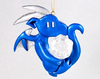 Dragon holding a d20 - geeky Christmas ornament - colorful dragon hanging ornament - cute dice ornament - Dungeons and Dragons - DnD