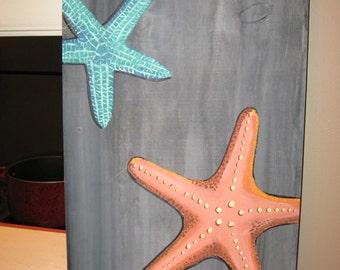 Starfish painting - Custom Starfish - Driftwood - nautical decor - beach decor