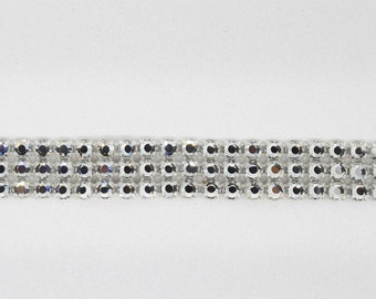 Rhinestone Chaton Rose Banding SS20 Silver/Crystal 3 Row (1 foot) - Made by Preciosa