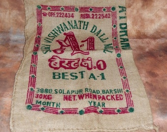Vintage Hessian Sack, Burlap sack, Crafting, Wall Hanging , shabby chic,