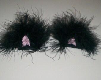 3D Furry Black Kitty Ears Hair Clips