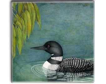Loon Willow on 2-inch ceramic tile magnets, original design kitchen magnets