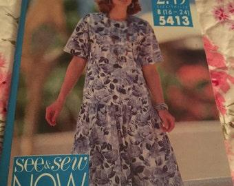 Vintage Butterick see snd sew Drop WIst dress pattern  uncut  unused size B ( 16-24)