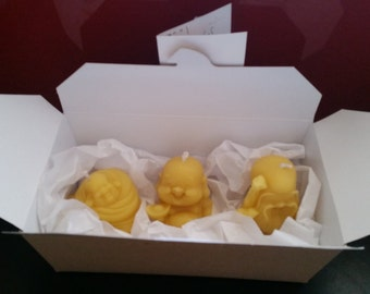 3 Happy Buddha candle box - prosperity, good luck and longevity, beeswax, happy, Chinese, new year, blessing, aroma