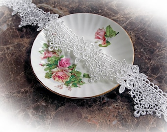 Reneabouquets Trim- 2 Inch Wide Rose Crown Lace In White, Embroidery,  Venice , Bridal, Costume Design, Lace Applique, Crafting