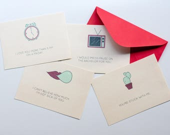 Non-Traditional Valentines Day Cards -- Set of 4