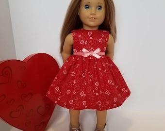 18 Inch Doll-American Girl Valentine Hearts Dress