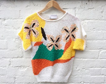 80's floral knit, summer sweater, short sleeve pullover, women's fashion