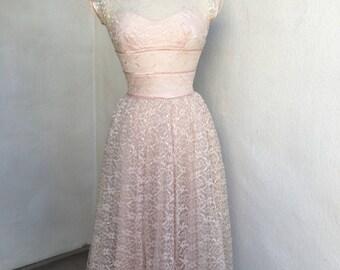 Vintage mid century pink lace Party Dress by Lorrie Deb San Francisco sz XS