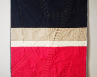 Pink / Navy Color Block Baby Quilt/Wall Hanging - Fuschia, Khaki, Navy, Gold