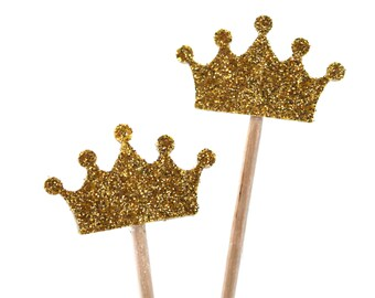 10 golden crown, Baby Shower Decoration, Party Picks, Cupcake Topper, Tiara, Birthday Pick, duchess of cambridge, royal crown, #14