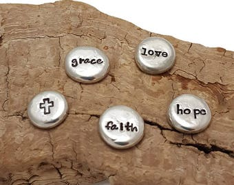 Pocket Tokens - Inspirational stones - Affirmation trinkets - Mantra Pebbles - Pocket pebbles - Message Stone - Christmas Gift - Religious