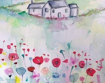 Original watercolour painting - Summer Meadow 1