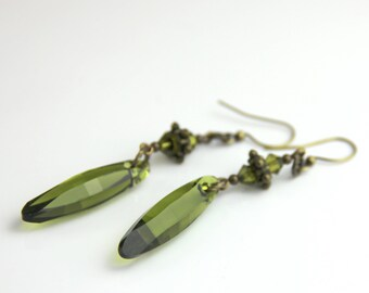 Long Olive Green Swarovski Crystal Earrings - Elegant Olivine Green Swarovski Crystal Antique Brass Long Dangle Earrings