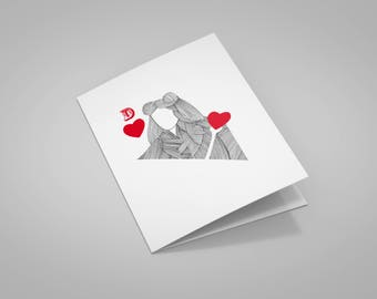 """Valentine's day """"Queen of hearts"""" card with envelope"""