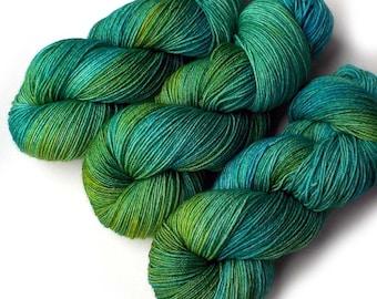 Hand Dyed Yarn Merino Nylon Sock Yarn, 433 yards, Essex River