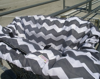 Shopping Cart cover  for boy or girl.....Large Chevron in Gray
