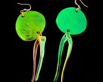 PANIKA holographic jellyfish earrings / laser cut earrings / statement earrings