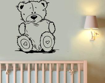 Cute Teddy Bear Wall Decal Vinyl Sticker Valentine Heart Art Decorations for Home Housewares Kids Baby Room Bedroom Nursery Decor tbr5