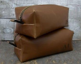Men's Dopp Kit, Free Personalized, Groomsmen Dopp, Shaving Bag, Leather Dopp Kit, Antique, Faux Leather, Toiletry Bag, Travel Bag, Dopp Kit