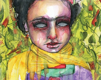 Frida In Peppers- Mixed Media Large Giclee Art Print by Amber Button