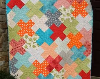 Modern Lap Quilt, Handmade Quilted Throw, Quilts for Sale, Red Blue Green Orange, Homemade Blanket, Ready to Ship
