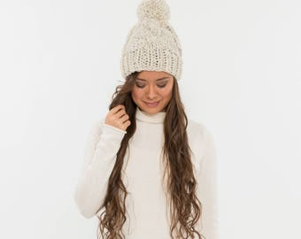 Chunky Knit Cable Slouchy Hat Pom Wool Beanie, Ribbed Knitted Slouch Toque, Women's Warm Handmade Winter Accessory / All Sizes / WHEAT